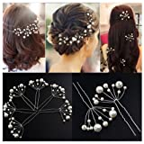 Lovef -10 Pcs Women's Fashion Wild U-Shaped Handmade Pearl Barrette Hair Pins Clips for Prom Wedding Bridal Bridesmaid (Color: White, Tamaño: 9.5cm)