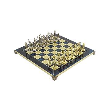 Bleu Poseidon Grecque Métal De Muxe Set D'échecs Avec Laiton & Nickel Doré / Couleur Argent Échecs