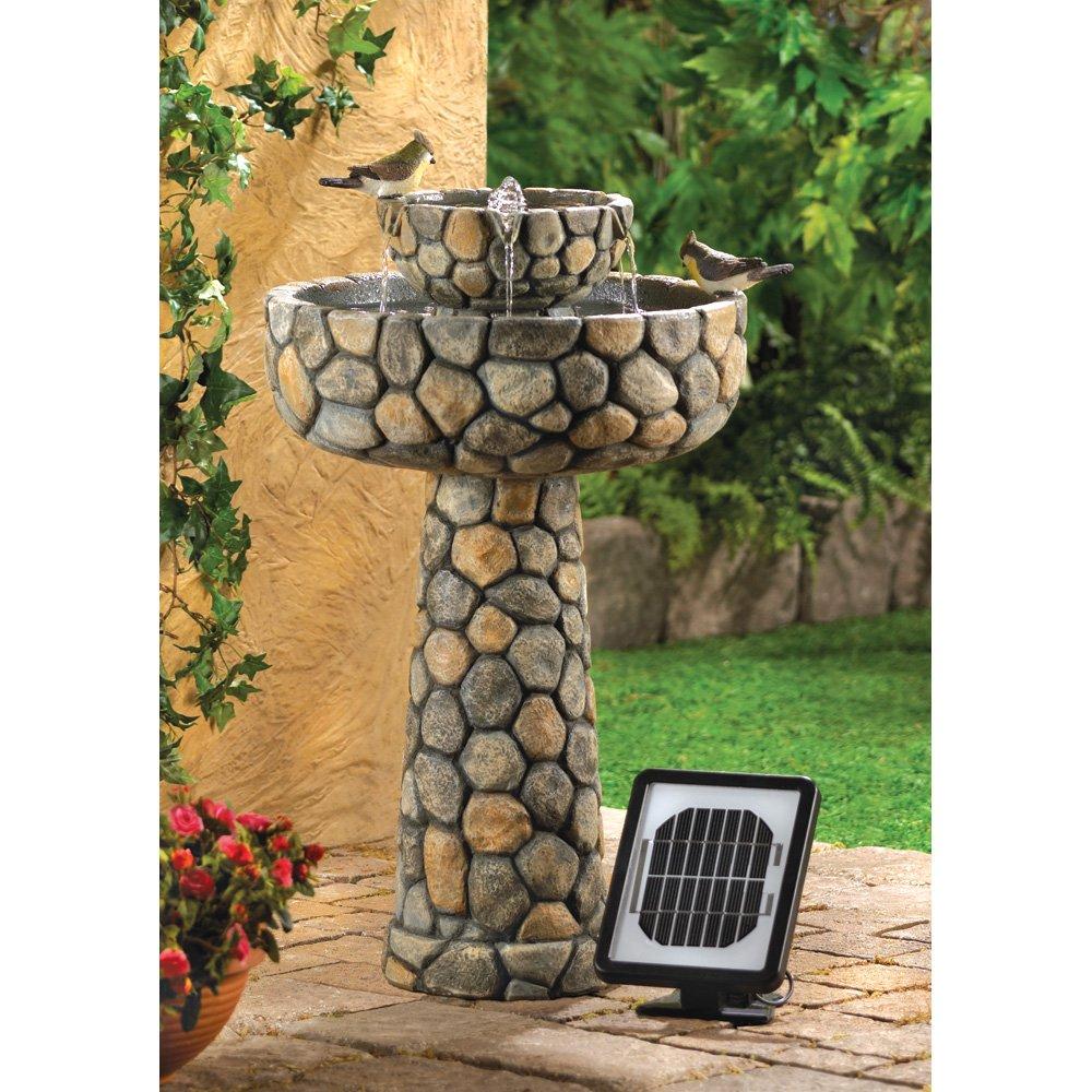 faux stone wishing well garden solar water fountain - Solar Powered Fountain