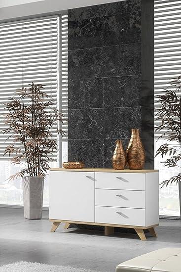 Galdem Wood–Cómoda con 3cajones Puerta Madera pies MO-Dance mueble multiusos de madera DM Piso comedor Salón Blanco Sonoma