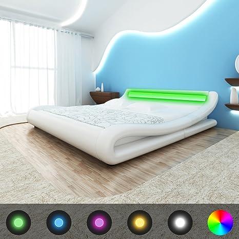 VidaXL-Cama de piel sintética con soporte, LED, color blanco, 180 cm de colchón con memoria