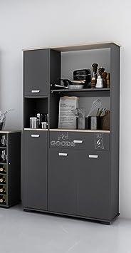 Armario aparador bufe alto de cocina de 4 puertas y 1 cajón gris grafito. 180cm