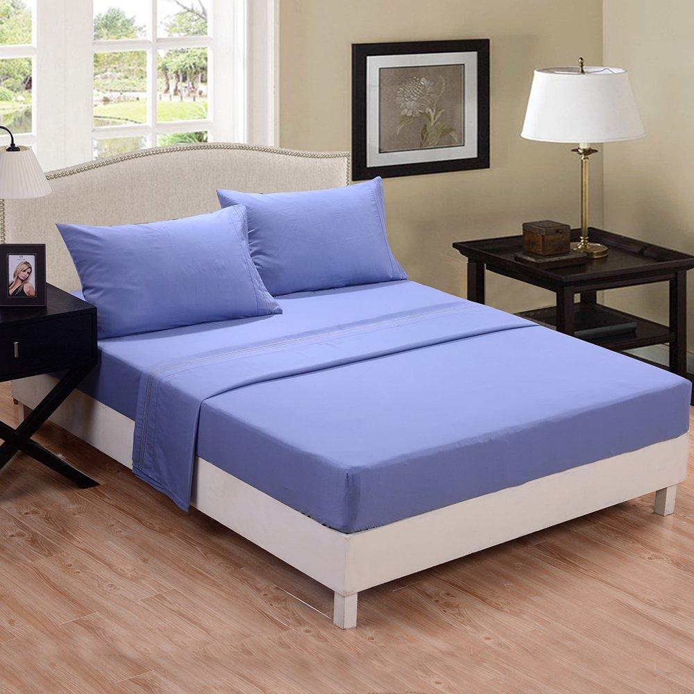 Honeymoon Deep Pockets 4PC Bed sheet set, Light Blue, Full Size at Sears.com