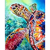 Paint by Numbers for Adults, DIY Painting Paint by Numbers Kits on Canvas,Colorful Sea Turtle 16x20 Inch,without Wooden Frame (Color: picture6, Tamaño: Frameless)