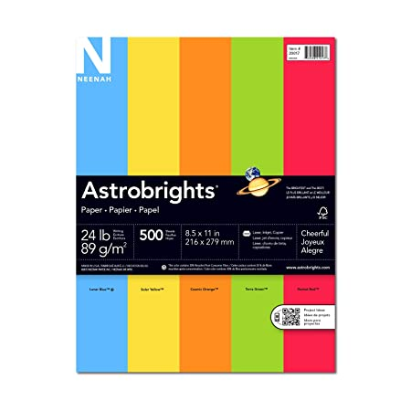 Neenah Astrobrights Premium Color Paper Assortment, 24 lb, 8.5 x 11 Inches, 500 Sheets, Cheerful