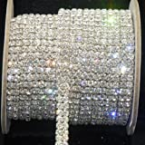 silverone SS16 Clear Rhinestone 2-Row Close Chain Trims Silver for Decoration 1 Yard 4mm