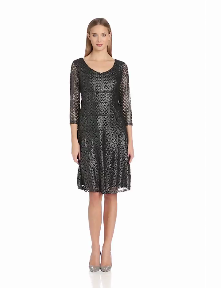 Anne Klein Womens 3/4 Sleeve Fit and Flare Dress, Gunmetal, 16