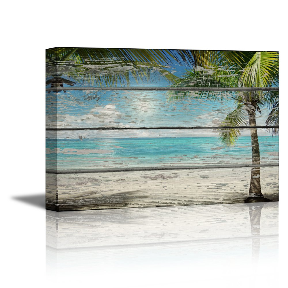 Palm Tree Beach: Canvas Prints- Tropical Beach With Palm Tree On Vintage