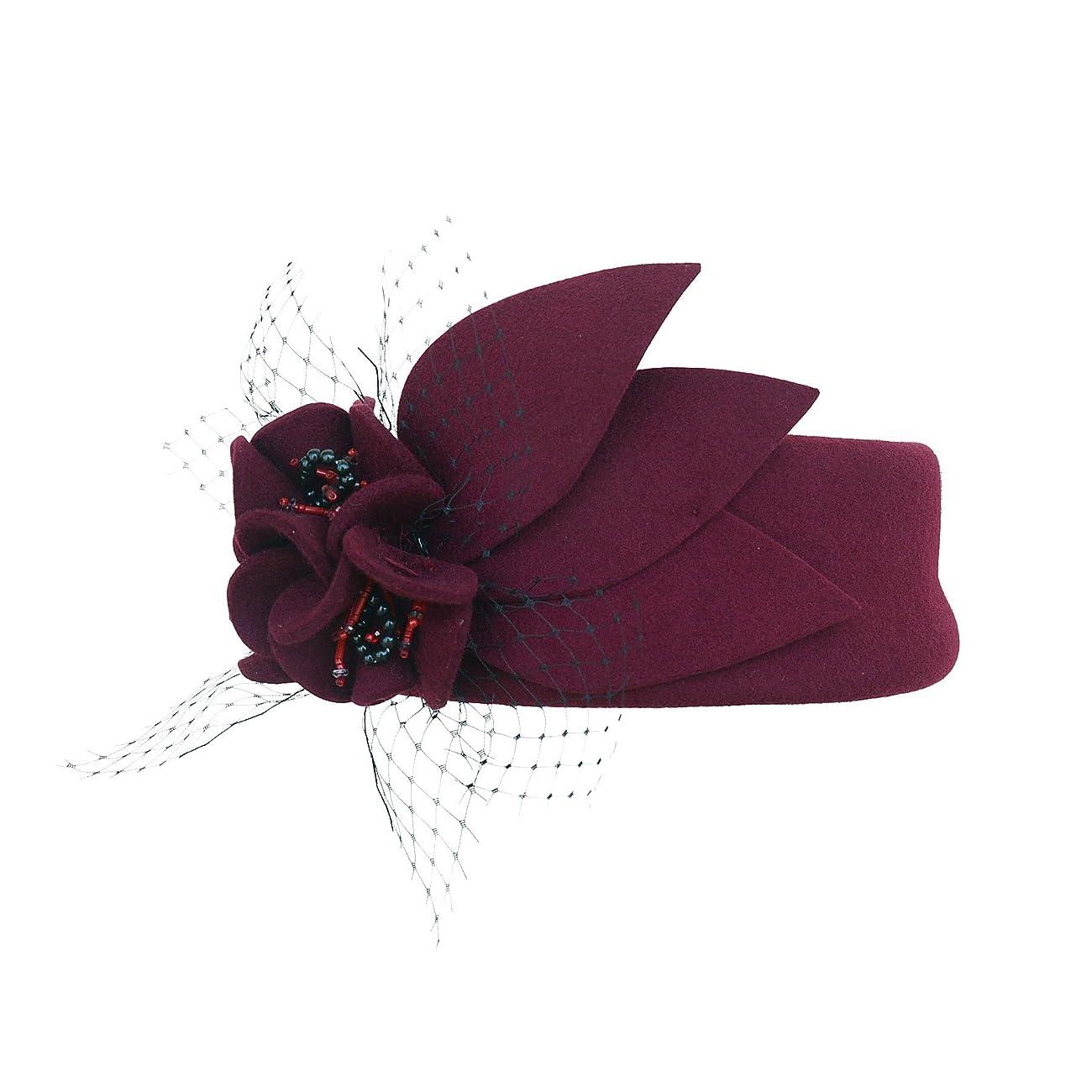 Wine Red Women Fascinator Pillbox Felt Wool Hat Formal Dress Flower Veil A131 3