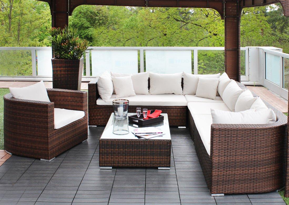 iCASA Polyrattan Gartenmöbel Sitzgarnitur Venezia Modern braun