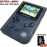 FLYFISH Handheld Game Console , Retro Game Console 2 Inch HD Screen 1219 Classic Games , Birthday Presents for Children (32 BIT Operate System,8G TF Card)- Transparent Black (Color: Retro Mini Transparent Black, Tamaño: MINI Retro)