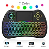 NEW! 2018 Rainbow Backlit 2.4GHz Mini Wireless Remote Keyboard and Mouse with Touchpad, USB Rechargeable with Li-ion Battery for Google Android TV Box, PC, HTPC, X-BOX, Raspberry Pi 3 (Color: Black)