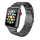 SWEES Stainless Steel Metal Bands Compatible iWatch 42mm Apple Watch Series 4, Series 3, Series 2, Series 1 Sports & Edition, Replacement Link Strap Double Button Butterfly Folding Clasp, Space Gray (Color: Three-piece Link - Space Grey)