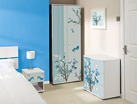 Blue/Brown Floral Design White Bedroom Furniture Set