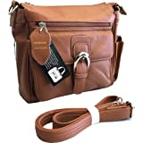 Roma F.C. Black Right or Left Draw Crossbody/Shoulder Carry - Leather Locking Concealment Purse/Gun Bag - CCW Concealed Carry Pistol, Light Brown (Color: Light Brown)