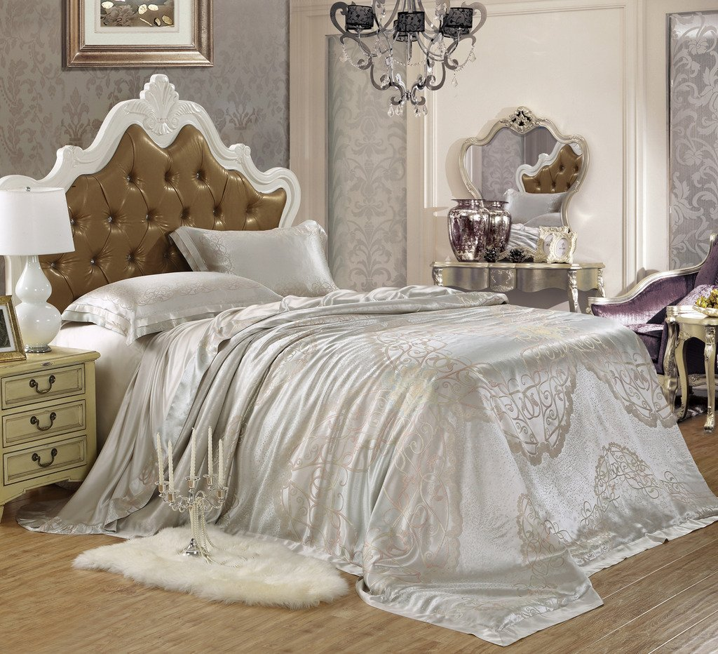 Orifashion Limited Edition 5-Piece Luxury 100% No-dyeing Nature Colour Silk Jacquard Bedding Set With Truelove Knot Pattern, California King Size
