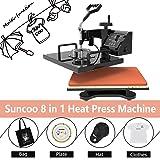Heat Transfer Machine-SUNCOO 8 in 1 Swing-Away Digital Transfer Sublimation T-Shirt Hot Pressing Machine-Multipurpose Mug/Hat Plate/Cap Press,12x15