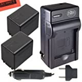 BM Premium 2 VW-VBT380 Batteries and Charger for Panasonic HC-V800K, HC-VX1K, HC-WXF1K, HCV380, HCV510, HCV520, HCV550, HCV710, HCV720, HCV750, HC-V770, HC-VX870, HC-VX981, HC-W580, HC-W850, HC-WXF991 (Tamaño: 2 Batteries + Single Charger)