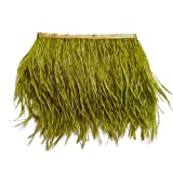 wanjin Ostrich Feathers Trims Fringe with Satin Ribbon Tape for Dress Sewing Crafts Costumes Decoration Pack of 2 Yards (ArmyGreen) (Color: 48#-ArmyGreen)