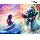 2 Pack DIY 5D Diamond Painting Kits,Simliber Full Drill Cartoon Stitch Rhinestone Diamond Painting for Beginner Adults Arts Craft Home Wall Decor, 11.8 X 15.8inch