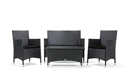 Rattan4Life 4-teilig Avignon Deluxe Polyrattan Gartenmöbel Set, Sofa / Lounge / Gartengarnitur / Kissenbezug, schwarz