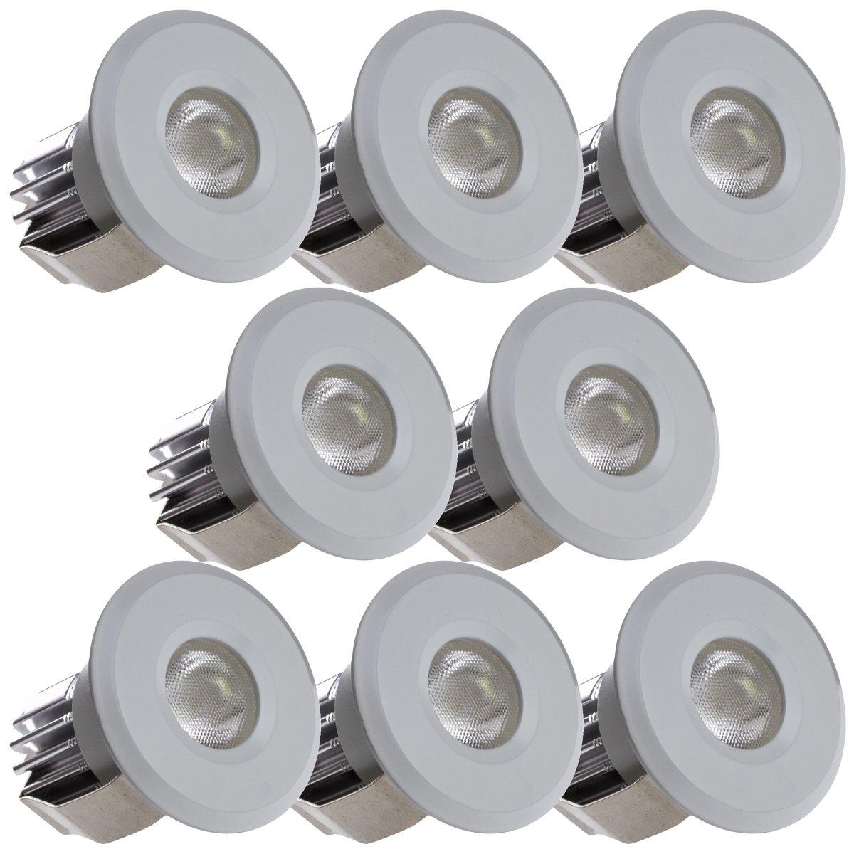 Sensati Kleine Miniatur LED Einbauleuchte Downlight Spot Set zu 8 Stück, dimmbar, 1200 lm, inklusive Treiber, Gehäusefarbe weiß, warmweiß T102 8 WW W