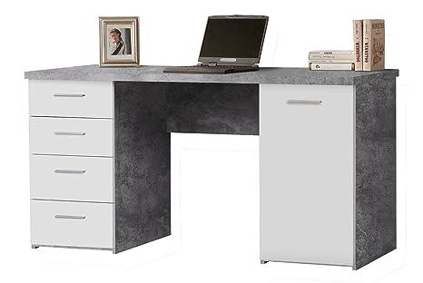 Schreibtisch Computertisch Arbeitstisch NANNIE 2 | Weiß | Beton