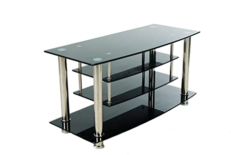 Home Source Industries TV4311 Modern TV Stand with Shelving for Components, Black Glass