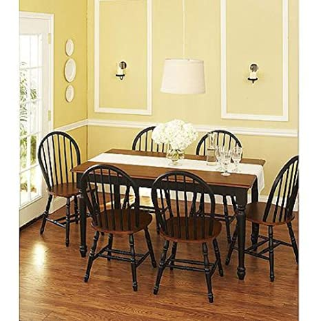 Better Homes and Gardens Autumn Lane 7 Piece Dining Set Black and Oak Large Table with 6 Chairs for Meals, Dinners and Gatherings with Family and Friends