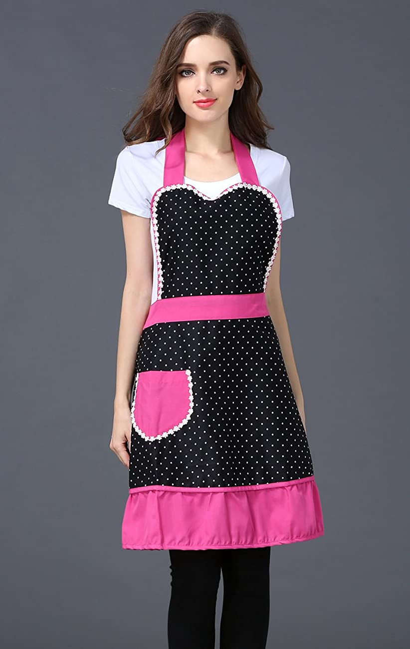 Cute Lovely Black Lace Aprons with Pocket for Women Girls Vintage Aprons Kitchen Cooking Apron 1