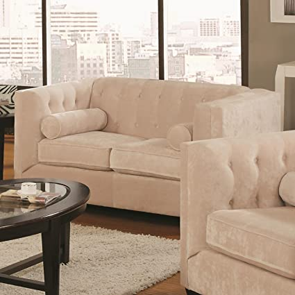 Alexis Collection Loveseat in Almond Microvelvet By Coaster