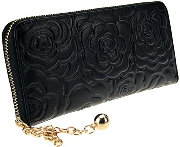 Heshe Women's Genuine Leather Purse Organizer Wallet Zippered Clutch Card Holder -- $17.53 + $5 shipping