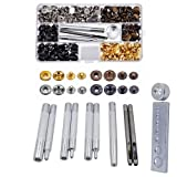 Gimiton 11pcs Leathercraft Tool Punch Snap Kit Rivet Setter with Base for Punch Hole Install Rivet Button + 80 Set Snap Fasteners Snaps Button Press Studs with 4 Pieces Fixing Tools (Color: Gold)