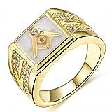 Songdetao 18K Gold Plate Men's Masonic White Lodge Mason Crystal Freemason Rings Sz 11 (Color: White)