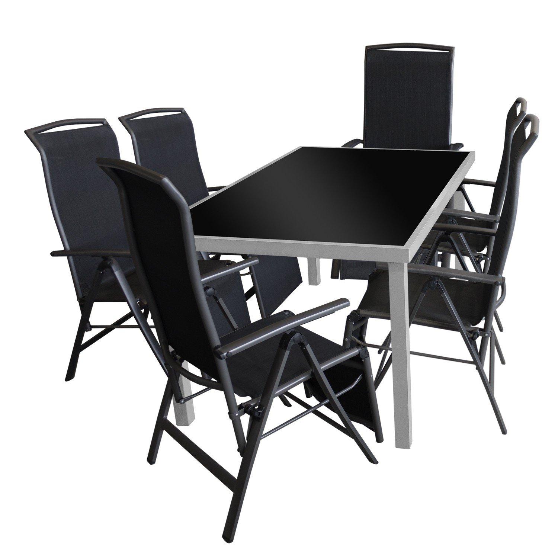 7tlg. Gartengarnitur Glastisch 150x90cm + 6x Aluminium Klappsessel 2×1 Textilen Schwarz online bestellen