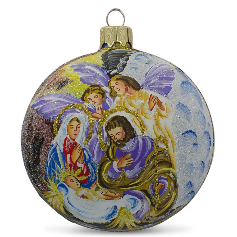 Nativity At Night Glass Ball Religious Christmas Ornament: Nativity Scene Christmas Ball Ornaments