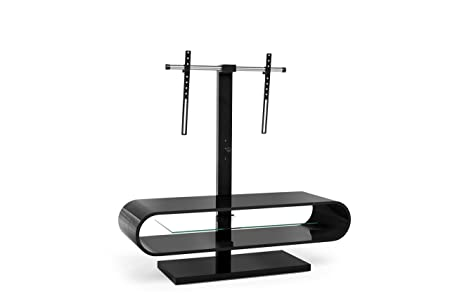 TECHLINK OV120TVB Ovid Evo TV Stand with a Curved High Gloss Black Carcass and a Clear Glass Shelf with Bracket for Screens up to 60-Inch
