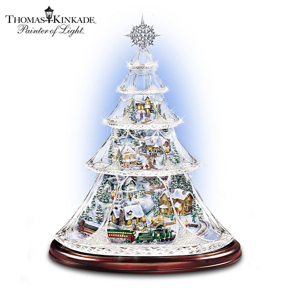 Thomas Kinkade Animated Crystal Tabletop Christmas Tree: Holiday Reflections by The Bradford Exchange