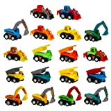 Toy Cars Pull Back Construction Vehicles Party favors Cake Decorations Topper Model Kit Set Plastic 18 Pcs Bulldoze Excavator Dump Truck Play set Preschool Learning for Children Toddlers Kids Birthday