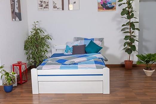 """Bett mit Stauraum """"Easy Sleep"""" K4, inkl. 2 Schubladen und 1 Abdeckblende, 140 x 200 cm Buche Vollholz massiv weiß lackiert"""