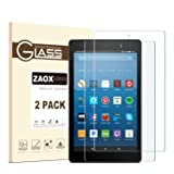 All-New Fire HD 8 Screen Protector, ZAOX [9H Hardness] [Bubble Free] Tempered Glass Screen Protector for Amazon Kindle Fire HD 8 Tablet Film (2017 and 2016 Model) (2 PACK) (Color: 2 PACK)