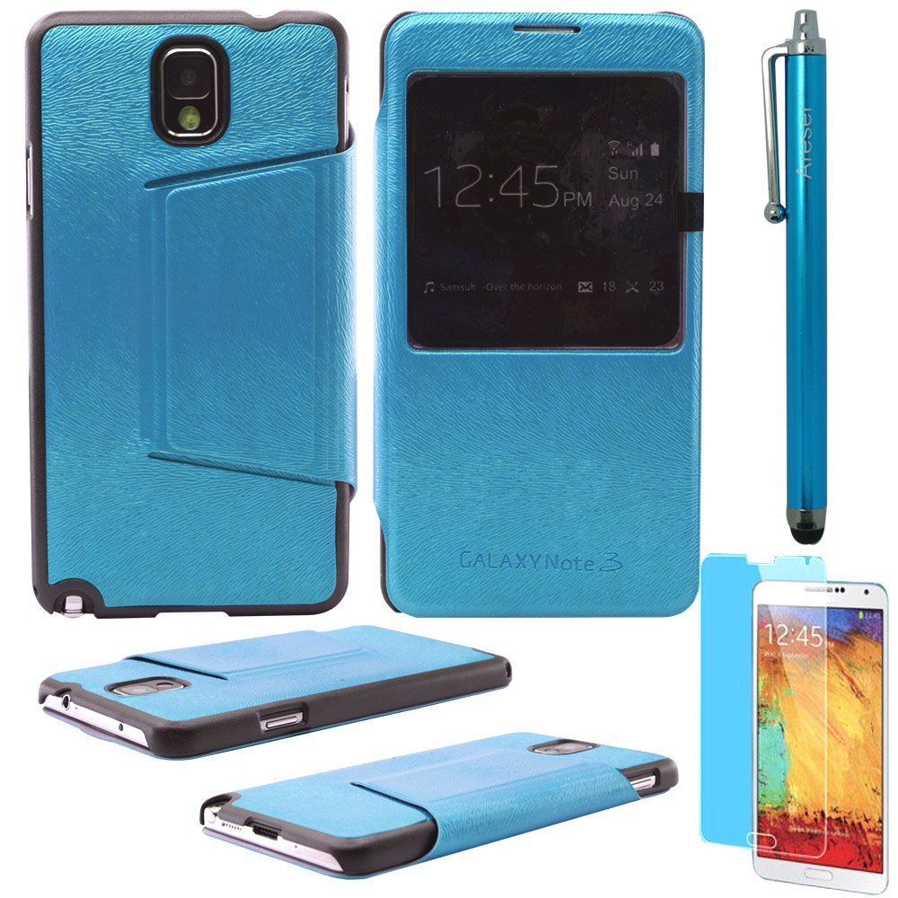 Areser(TM) S-View Flip Cover Leather Case - Light Blue