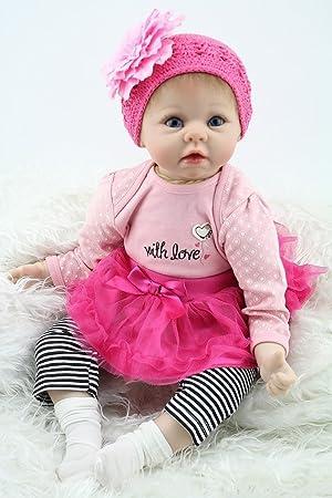 NPKDOLL Réincarné Bébé Poupée Souple En Silicone 22 Pouces 55Cm Magnétique Bouche Belle Lifelike Mignon Garçon Jouet Fille Rosé Fleur Coiffe Reborn Baby Doll A1FR
