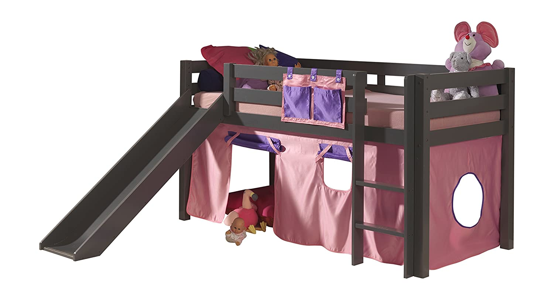 "VIPACK PICOHSGB1574 Spielbett Pino mit Rutsche und Textilset ""Bella"", Maße 210 x 114 x 218 cm, Liegefläche 90 x 200 cm, Kiefer massiv taupe lackiert"