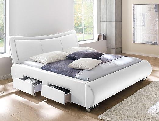 Polsterbett weiß Bett 180x200 cm Kunstleder 4x Schubkasten Bettgestell Doppelbett Designerbett Lando