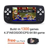 jXD 4.3 inch Screen Dual-core chip Handheld Game Console Build-in 1300 No-repeat Game for NEOGEO\CPS\GBA\GBC\GB\SFC\FC\MD\GG\SMS 64Bit Games Retro Video Game Console Support MP3/4 (Color: GM01065BlackUS)