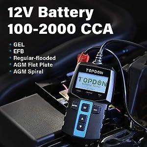Car Battery Tester 12V Load Tester, TOPDON BT100 100-2000 CCA Automotive Alternator Tester Digital Auto Battery Analyzer Charging Cranking System Tester for Car Truck Motorcycle ATV SUV Boat Yacht (Color: Black, Tamaño: BT100)