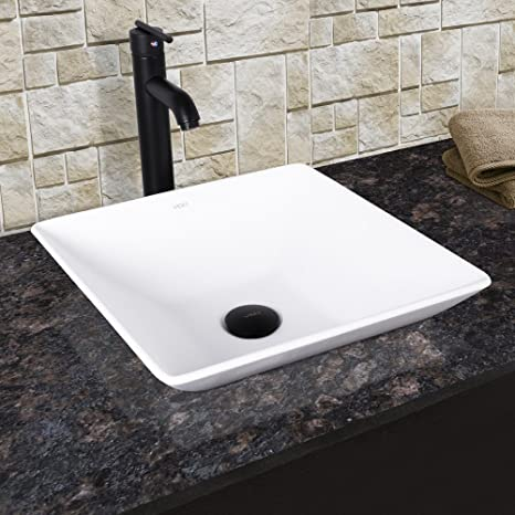 VIGO Matira Matte Stone Vessel Bathroom Sink and Seville Vessel Faucet with Pop Up, Matte Black