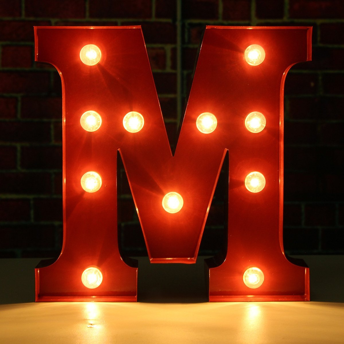 SOLMORE 23CM x 5.5CM LED Letter Light DIY Vintage Metal Sign Carnival Wall Marquee Lights Decoration M 0