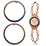 Greaciary Jewelry Bezel Compatible with Galaxy Watch 42mm,2 Pack Gear Sport Crystal Bling Diamond Adhesive Anti Scratch for Samsung Galaxy Watch 42mm Rainbow (Color: Rainbow)
